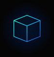 cube blue icon vector image