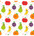 Cute seamless pattern with happy fruits vector image
