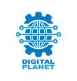 digital planet global technology logo design vector image
