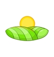 Green and sun icon cartoon style vector image