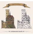 Lichtenstein or fairy tale castle on mountain vector image