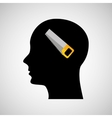 head silhouette black icon saw vector image