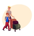 Young man pushing luggage trolley with his vector image