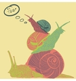 Three colorful snails with speech bubble vector image