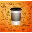 Hand drawn vintage coffee set with cup vector image