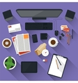 Flat office workspace vector image vector image