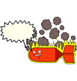 cartoon falling bomb with speech bubble vector image