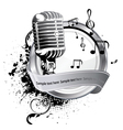 microphone on a label vector image
