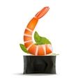 Sushi Shrimp on roll on white vector image