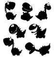set dino cartoon black vector image