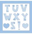 Blue fabric alphabet Letters T U V W X Y Z vector image