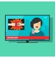 Breaking news on tv screen television program vector image