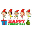 Christmas theme with children in party hats vector image