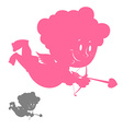 Cupid silhouette Pink Angel with a smile Hilarious vector image