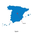 Detailed map of Spain and capital city Madrid vector image