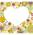 Floral frame in heart shape vector image