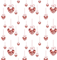 Seamless pattern red heart hanging vector image