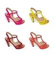 A set of colorful female summer shoes on a white vector image
