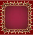 a red background frame with pearls gold ornaments vector image