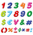 rainbow candy numbers and glossy funny vector image vector image