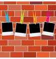 Blank photo frames with clothes pegs on rope over vector image vector image