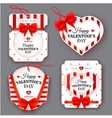 Set with labels with bows on Valentines Day vector image