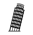 black icon leaning tower of pisa vector image