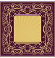 Gold vintage frame with floral ornamental border vector image