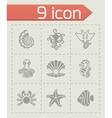 marine life icon set vector image