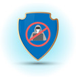shield with stop hacker simbol vector image