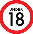 Under eighteen sign vector image