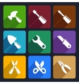 Working tools flat icon set 12 vector image