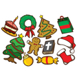 set of colorful christmas stuff vector image vector image