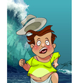 cartoon man with a hat runs from the giant tsunami vector image