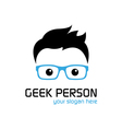 Geek person logo template vector image