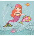 Little mermaid and big fish vector image