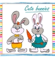 Two little boy and girl bunny vector image
