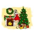 woman decorating Christmas tree vector image vector image