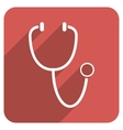 Stethoscope Flat Rounded Square Icon with Long vector image