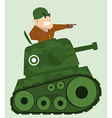 Cartoon tank with army soldier vector image