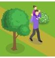Family Walking Isometric Design vector image