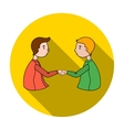 Handshaking of businessmen icon in flat style vector image