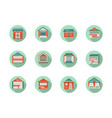 kiosk and marquees round flat color icons vector image