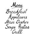 Menu headline handmade brush lettering vector image