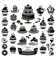 Set of desserts design elements vector image