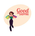 happy shopping poster banner with girl woman vector image