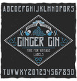 ginger gin typeface poster vector image vector image