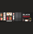 black friday sale poster with fashion clothes shop vector image