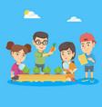 caucasian school children learning gardening vector image