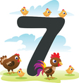 Collection number for kids farm animals - number 7 vector image